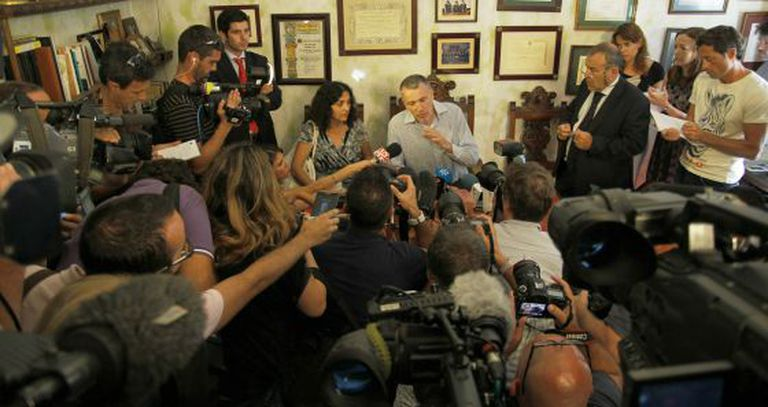 Brett and Naghemeh King answer questions from reporters in Seville on Wednesday.