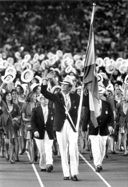 Spain's (then) Prince Felipe at the opening ceremony of the 1992 Barcelona Olympic Games.