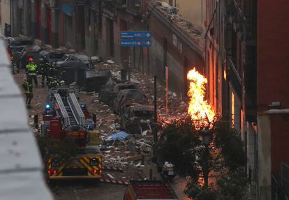 The blast damaged the nearby area.