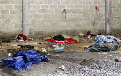 Crime scene where 22 alleged drug traffickers were killed in Mexico.