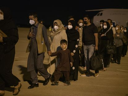 The first plane of evacuated Afghans and Spanish nationals arrives at the Torrejón de Ardoz military base on Thursday.