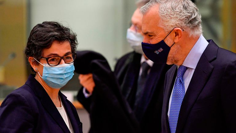 Foreign Affairs Minister Arancha Gonzalez Laya at the EU headquarters in Brussels on Monday.