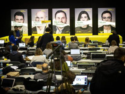 Election campaign posters featuring Catalan politicians.
