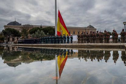 Congressional Speaker Meritxell Batet and Senate Speaker Pilar Llop presided an event in Madrid's Plaza de Colón to observe the 41st anniversary of the Spanish Constitution.