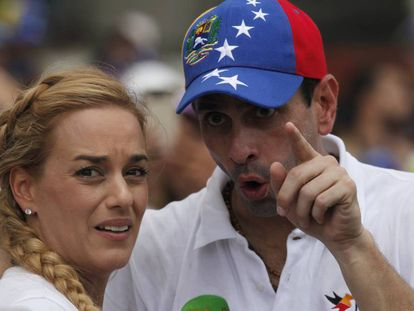 Lilian Tintori and Henrique Capriles at a demonstration in Caracas on Saturday.