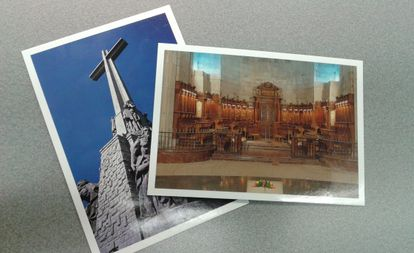 Two of the postcards on sale for €0.75 each.