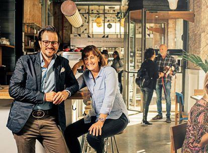 Jordi Barri and his mother, Teresa Carles, at the flexitarian restaurant, Flax & Kale, in Barcelona.
