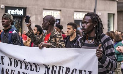 A protest against racism in Barcelona.