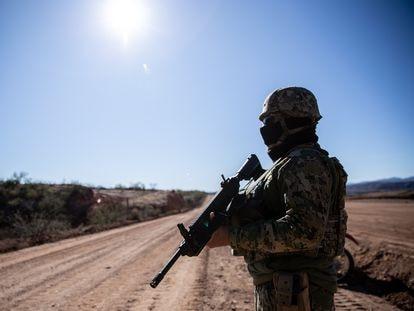 A Mexican soldier stands guard in La Morita, Sonora.