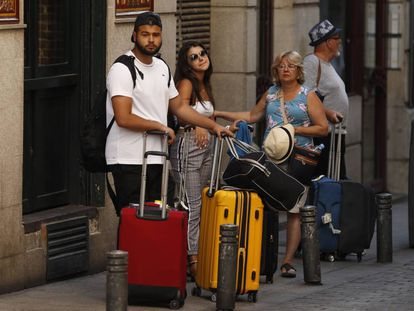 Tourists in downtown Madrid.