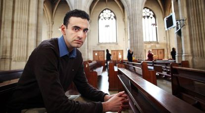 Miguel Hurtado, pictured in a Catholic church in the center of London.