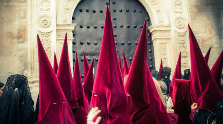 Hooded penitents during one of Spain's many Holy Week processions.
