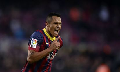 Barcelona's Alexis celebrates one of his three goals against Elche.