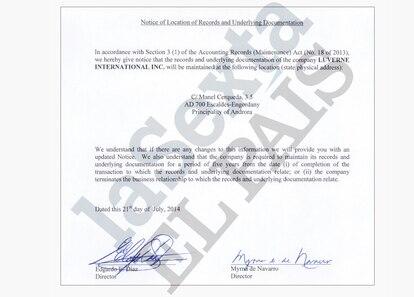 Uno de los registros es de Luverne International Inc.  , que fue enviada a un gerente asociado a Andbank.