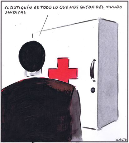 """""""The first aid kit is all we have left from the world of trade unions."""""""