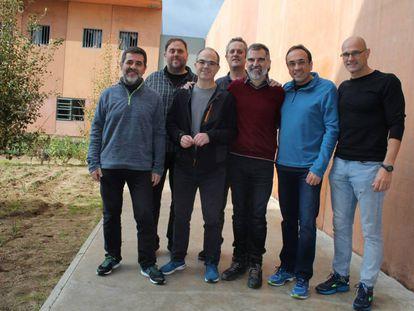 Catalan independence leaders (l-r) Jordi Sànchez, Oriol Junqueras, Jordi Turull, Joaquim Forn, Jordi Cuixart, Josep Rull and Raül Romeva.