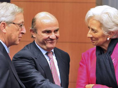 Photo from 2012 of former Eurogroup president, Jean-Claude Juncker, former Economy Minister Luis de Guindos and IMF president Christine Lagarde.