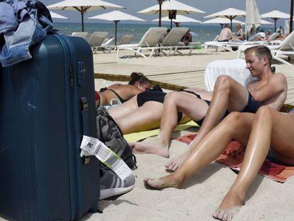Tourists in Palma de Mallorca.