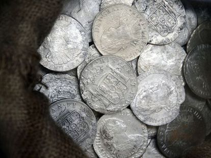 Some of the coins taken from the Nuestra Señora de las Mercedes have gone on show in Cartagena.