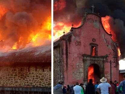 Flames consume the Apostle Santiago Church in Michoacán state.