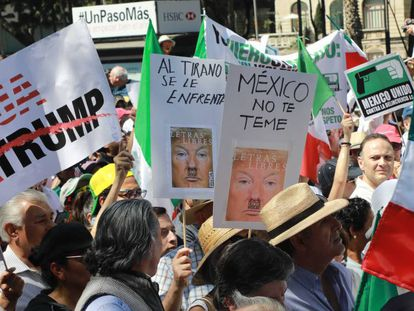 Mexicans take to the streets to protest against Donald Trump.