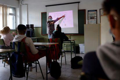 Students at a Gaspar Melchor de Jovellanos secondary school in Fuenlabrada (Madrid).