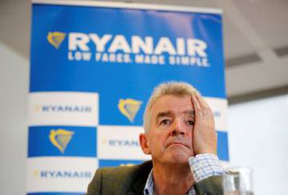 Ryanair CEO Michael O'Leary at a press conference in London on September 12.