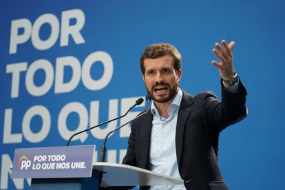 PP leader Pablo Casado at a campaign rally on November 1.