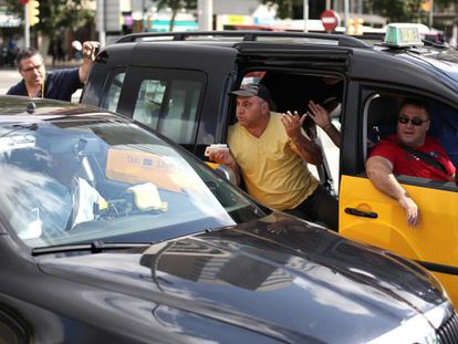 Taxi drivers strike on Tuesday in Barcelona.