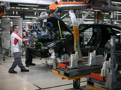 A file photo of the Seat production line at the company's factory in Martorell, Spain.