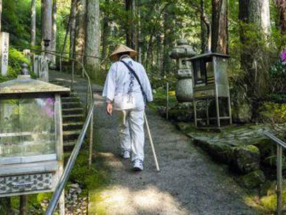 A pilgrim walks the Way of the 88 Temples on the island of Shikoku.