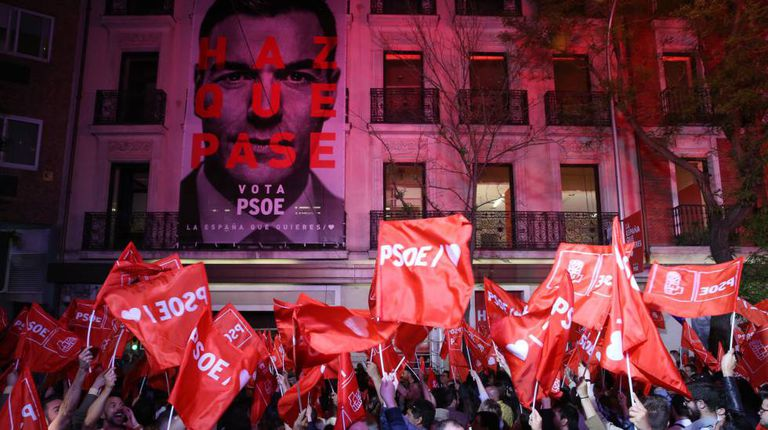 PSOE headquarters in Madrid after the election victory.