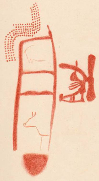 A drawing of one of the cave paintings by French prehistorian Henri Breuil in 1913 (the animal silhouettes came later)