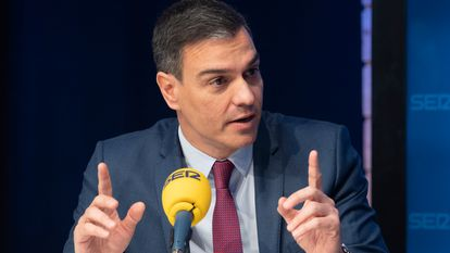 Spanish Prime Minister Pedro Sánchez during an interview with the Cadena SER radio network.
