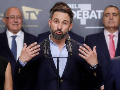 Vox candidate Santiago Abascal after Monday's debate.