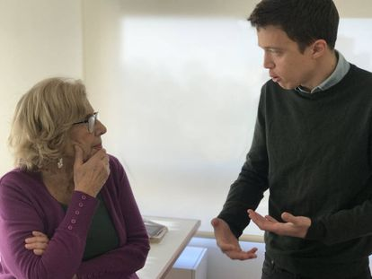 Madrid Mayor Manuela Carmena and Iñigo Errejón.