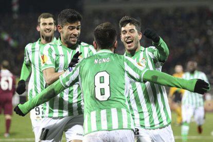 Betis midfielder Nono celebrates scoring against Rubin Kazan.