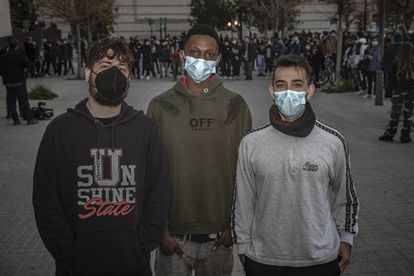 Youngsters who took part in the protests in Valencia, from left to right: Juan Antonio Garcia Ruiz, Babacar Diagne and Alex Cantón.