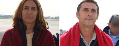 Itziar Alberdi Uranga (l) and Juan Jesús Narváez Goñia on their return on Tuesday from Spain.