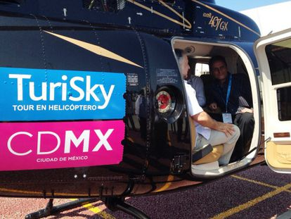A tourist helicopter in Mexico City.