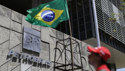 A protest is held in front of Petrobras headquarters in Rio de Janeiro.