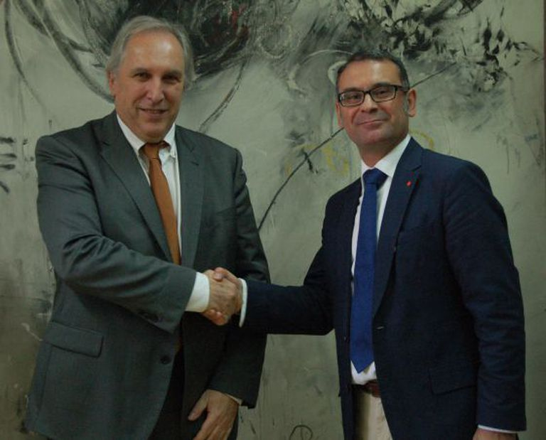 The mayor of Parla, José María Fraile (right), and Didier Maurice, head of Cofely, have both been targeted in Operation Púnica.