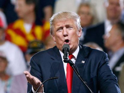 Donald Trump during a rally in Phoenix, Arizona.