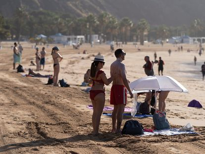 Las Teresitas beach in Tenerife, which is now open under Phase 2 of the government's coronavirus deescalation plan.