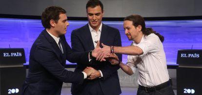 Ciudadanos' Albert Rivera (left), Socialist Party leader Pedro Sánchez (center) and Podemos's Pablo Iglesias at the recent election debate organized by EL PAÍS.
