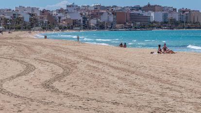 Palma beach in Mallorca during the coronavirus lockdown.