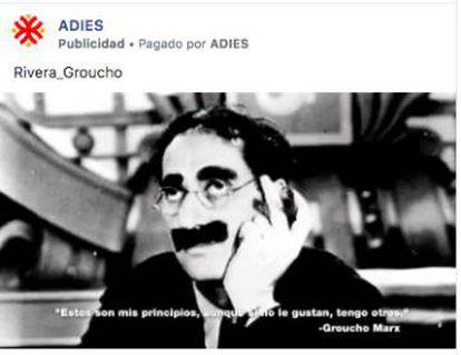 Groucho March helps criticize Ciudadanos leader Albert Rivera.
