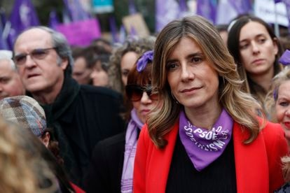 Pedro Sánchez's wife, Begoña Gomez, at the International Women's Day march in Madrid.