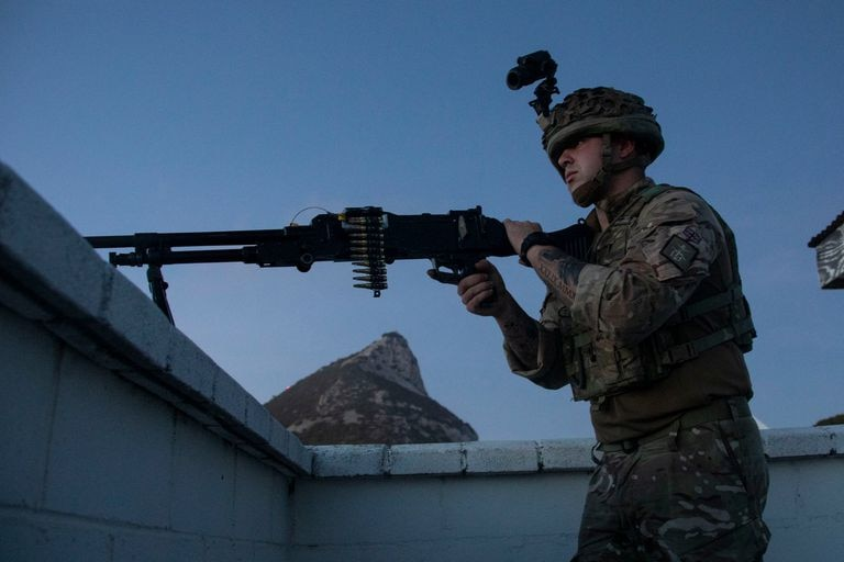 A soldier during Exercise Macaque Malice in Gibraltar.