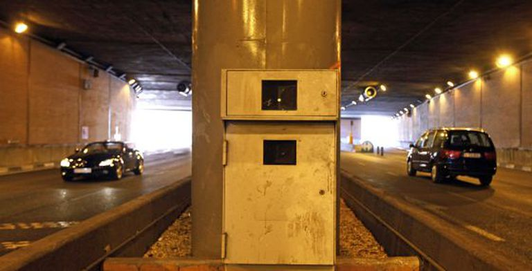 A radar in a tunnel in Costa Rica street in the center of Madrid.